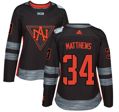 Team North America #34 Auston Matthews Black 2016 World Cup Women's Stitched NHL Jersey