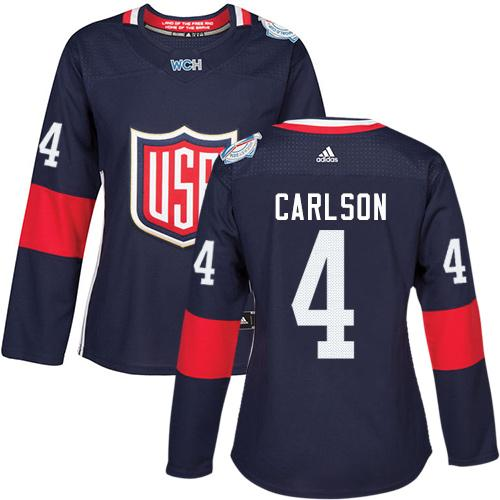 Team USA #4 John Carlson Navy Blue 2016 World Cup Women's Stitched NHL Jersey