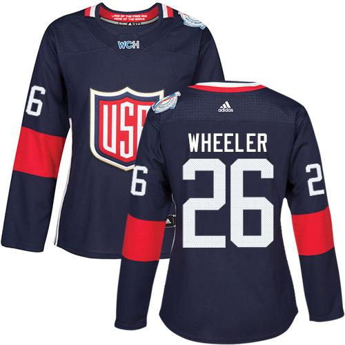 Team USA #26 Blake Wheeler Navy Blue 2016 World Cup Women's Stitched NHL Jersey