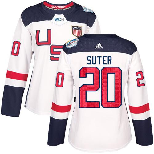 Team USA #20 Ryan Suter White 2016 World Cup Women's Stitched NHL Jersey