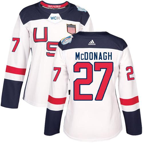 Team USA #27 Ryan McDonagh White 2016 World Cup Women's Stitched NHL Jersey