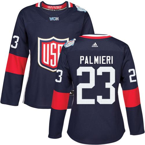 Team USA #23 Kyle Palmieri Navy Blue 2016 World Cup Women's Stitched NHL Jersey