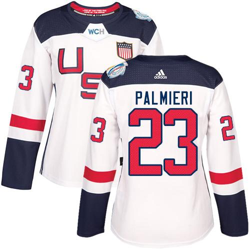 Team USA #23 Kyle Palmieri White 2016 World Cup Women's Stitched NHL Jersey