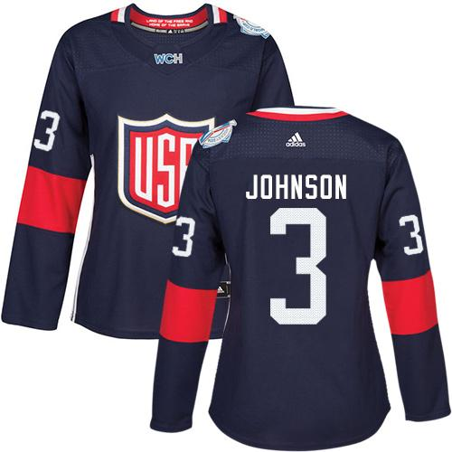 Team USA #3 Jack Johnson Navy Blue 2016 World Cup Women's Stitched NHL Jersey