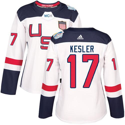 Team USA #17 Ryan Kesler White 2016 World Cup Women's Stitched NHL Jersey