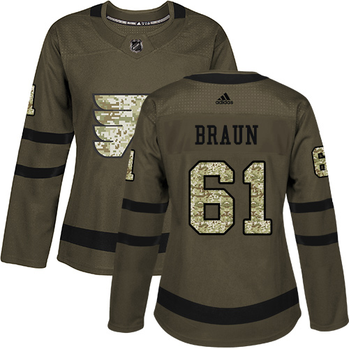 Adidas Flyers #61 Justin Braun Green Salute to Service Women's Stitched NHL Jersey