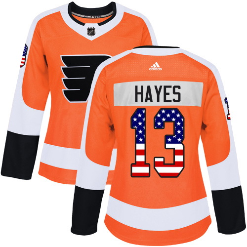 Adidas Flyers #13 Kevin Hayes Orange Home Authentic USA Flag Women's Stitched NHL Jersey