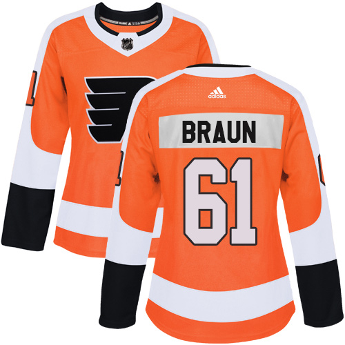 Adidas Flyers #61 Justin Braun Orange Home Authentic Women's Stitched NHL Jersey
