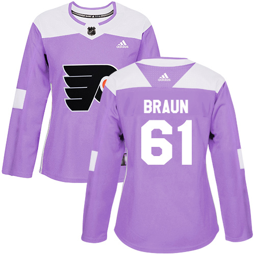 Adidas Flyers #61 Justin Braun Purple Authentic Fights Cancer Women's Stitched NHL Jersey