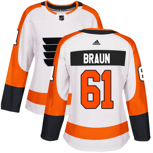 Adidas Flyers #61 Justin Braun White Road Authentic Women's Stitched NHL Jersey