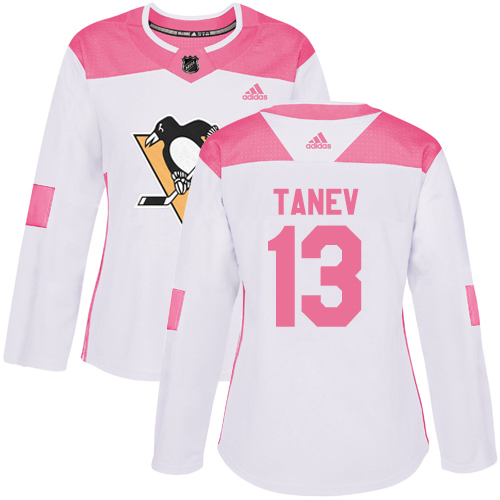 Adidas Penguins #13 Brandon Tanev White/Pink Authentic Fashion Women's Stitched NHL Jersey