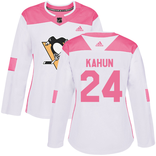 Adidas Penguins #24 Dominik Kahun White/Pink Authentic Fashion Women's Stitched NHL Jersey
