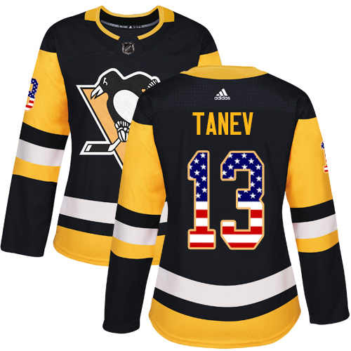 Adidas Penguins #13 Brandon Tanev Black Home Authentic USA Flag Women's Stitched NHL Jersey