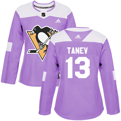 Adidas Penguins #13 Brandon Tanev Purple Authentic Fights Cancer Women's Stitched NHL Jersey