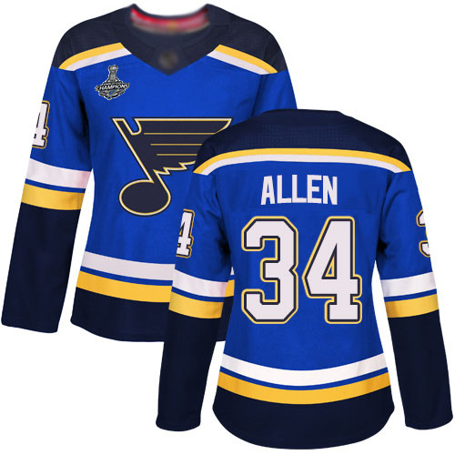 Adidas Blues #34 Jake Allen Blue Home Authentic Stanley Cup Champions Women's Stitched NHL Jersey