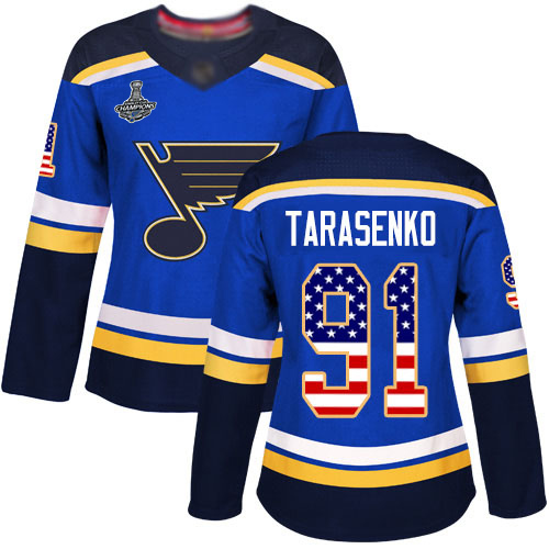 Adidas Blues #91 Vladimir Tarasenko Blue Home Authentic USA Flag Stanley Cup Champions Women's Stitched NHL Jersey