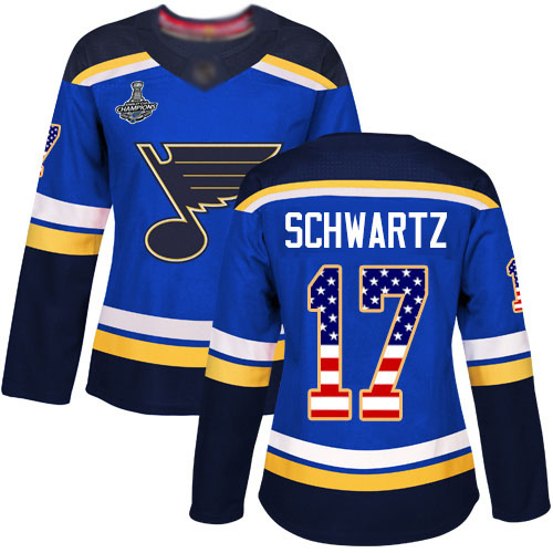 Adidas Blues #17 Jaden Schwartz Blue Home Authentic USA Flag Stanley Cup Champions Women's Stitched NHL Jersey