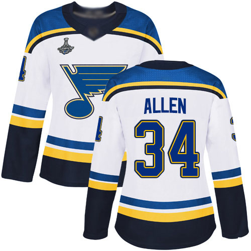 Adidas Blues #34 Jake Allen White Road Authentic Stanley Cup Champions Women's Stitched NHL Jersey
