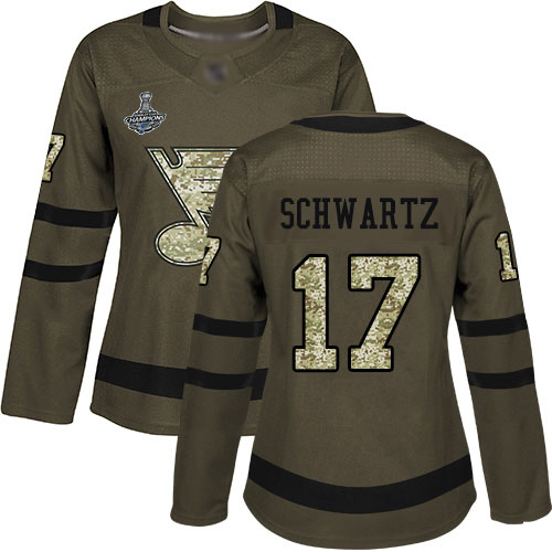 Adidas Blues #17 Jaden Schwartz Green Salute to Service Stanley Cup Champions Women's Stitched NHL Jersey