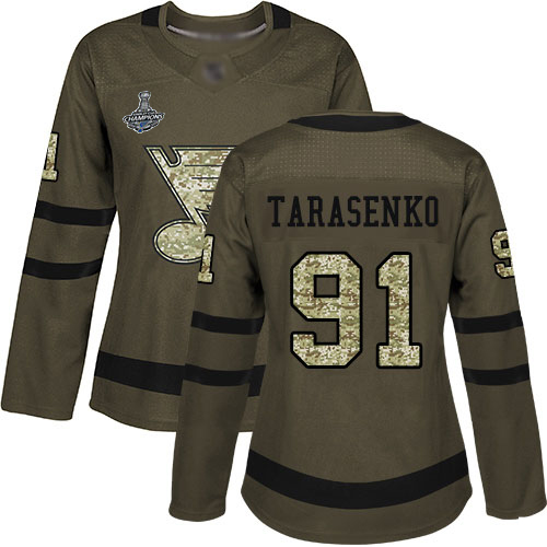 Adidas Blues #91 Vladimir Tarasenko Green Salute to Service Stanley Cup Champions Women's Stitched NHL Jersey