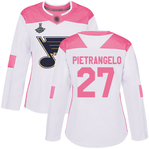 Adidas Blues #27 Alex Pietrangelo White/Pink Authentic Fashion Stanley Cup Champions Women's Stitched NHL Jersey