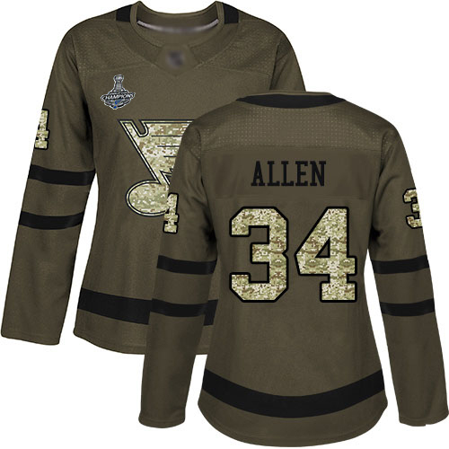 Adidas Blues #34 Jake Allen Green Salute to Service Stanley Cup Champions Women's Stitched NHL Jersey