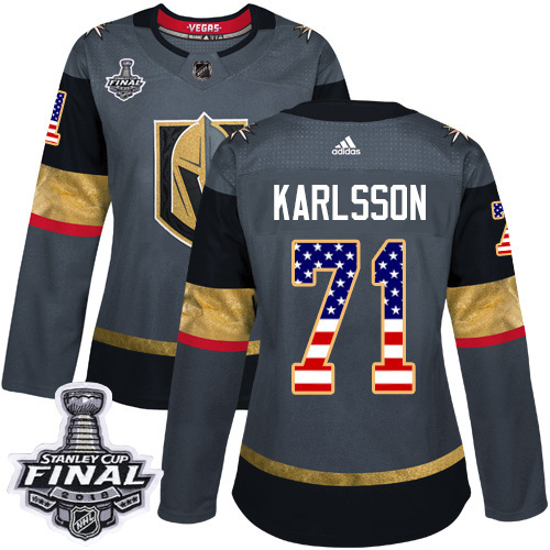 Adidas Golden Knights #71 William Karlsson Grey Home Authentic USA Flag 2018 Stanley Cup Final Women's Stitched NHL Jersey