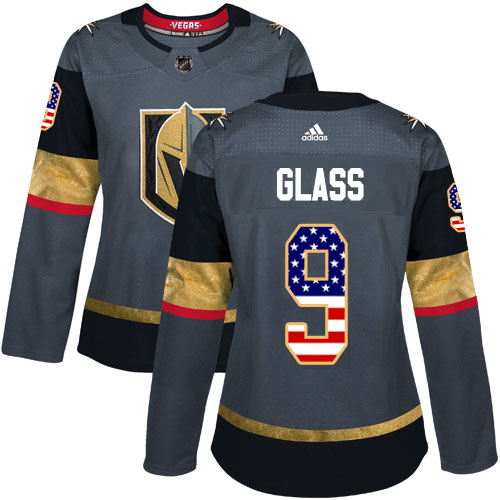Adidas Golden Knights #9 Cody Glass Grey Home Authentic USA Flag Women's Stitched NHL Jersey