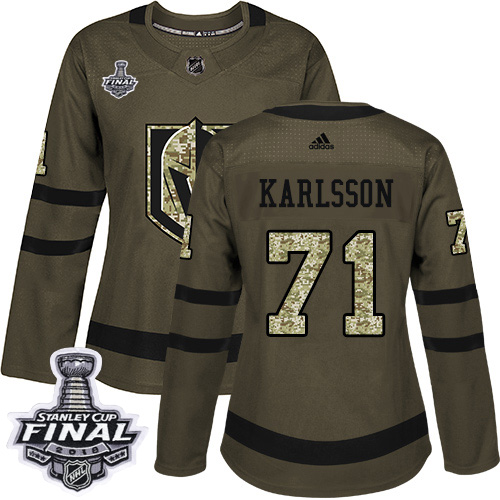 Adidas Golden Knights #71 William Karlsson Green Salute to Service 2018 Stanley Cup Final Women's Stitched NHL Jersey