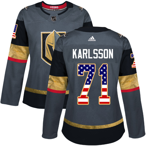 Adidas Golden Knights #71 William Karlsson Grey Home Authentic USA Flag Women's Stitched NHL Jersey
