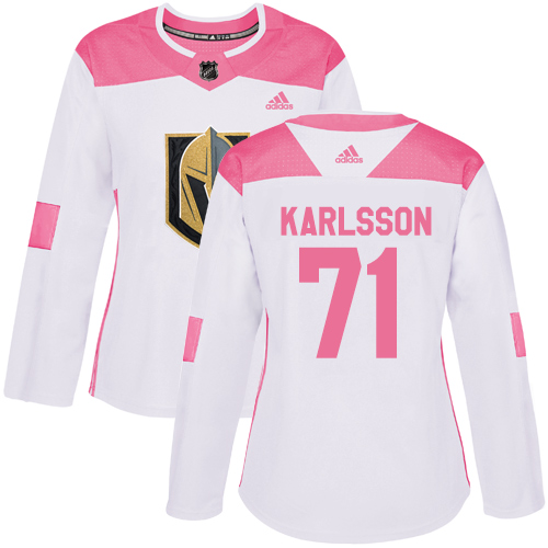 Adidas Golden Knights #71 William Karlsson White/Pink Authentic Fashion Women's Stitched NHL Jersey