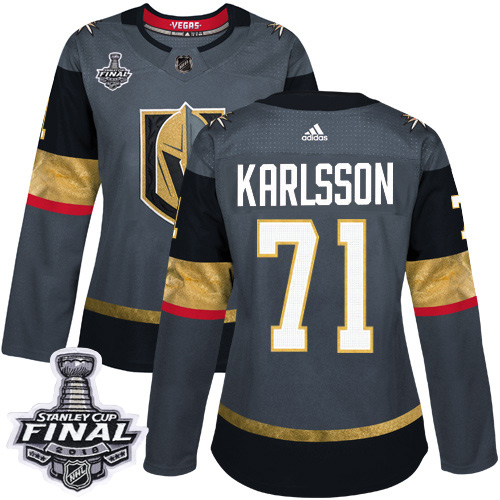 Adidas Golden Knights #71 William Karlsson Grey Home Authentic 2018 Stanley Cup Final Women's Stitched NHL Jersey