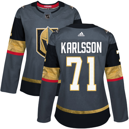 Adidas Golden Knights #71 William Karlsson Grey Home Authentic Women's Stitched NHL Jersey