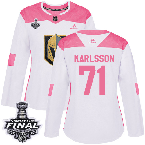 Adidas Golden Knights #71 William Karlsson White/Pink Authentic Fashion 2018 Stanley Cup Final Women's Stitched NHL Jersey