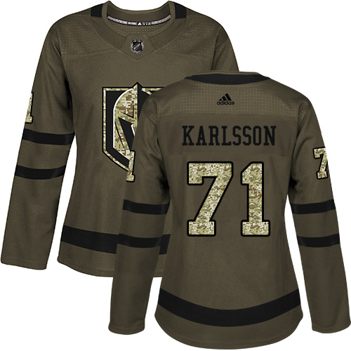Adidas Golden Knights #71 William Karlsson Green Salute to Service Women's Stitched NHL Jersey