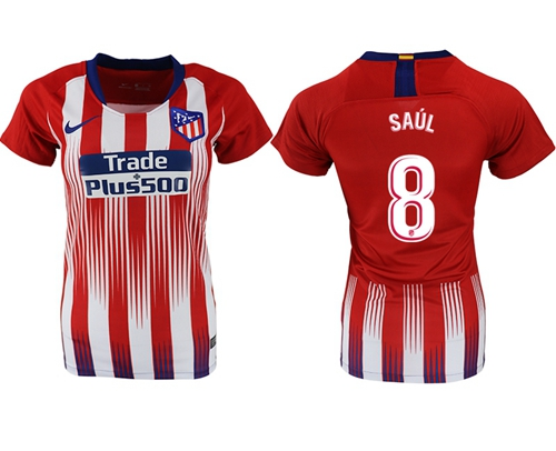 Women's Atletico Madrid #8 Saul Home Soccer Club Jersey