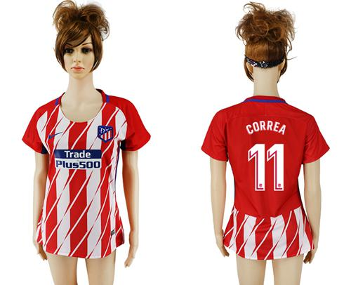 Women's Atletico Madrid #11 Correa Home Soccer Club Jersey