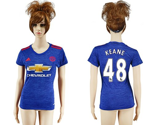 Women's Manchester United #48 Keane Away Soccer Club Jersey