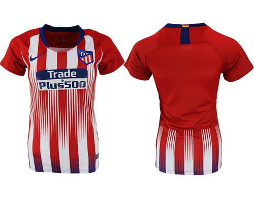 Women's Atletico Madrid Blank Home Soccer Club Jersey