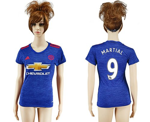 Women's Manchester United #9 Martial Away Soccer Club Jersey