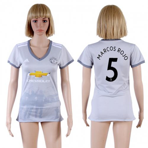 Women's Manchester United #5 Marcos Rojo Sec Away Soccer Club Jersey