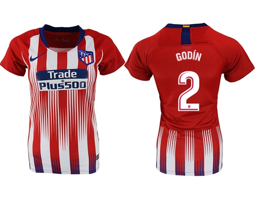 Women's Atletico Madrid #2 Godin Home Soccer Club Jersey
