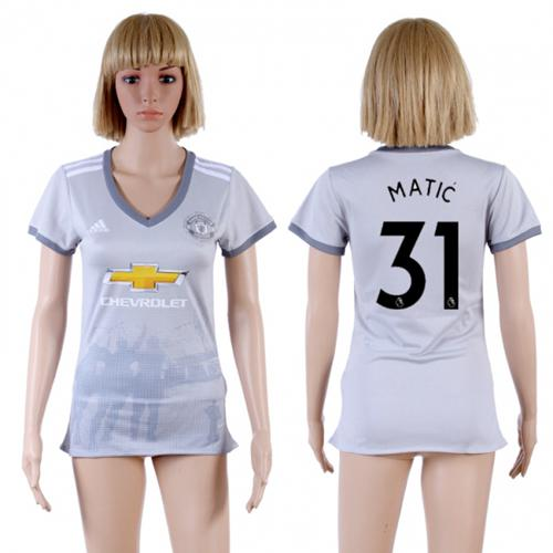 Women's Manchester United #31 Matic Sec Away Soccer Club Jersey