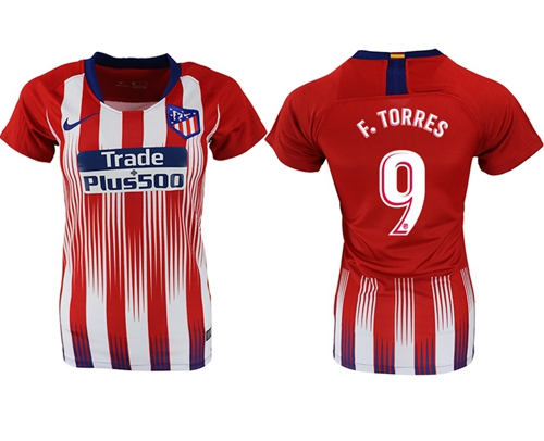 Women's Atletico Madrid #9 F.Torres Home Soccer Club Jersey