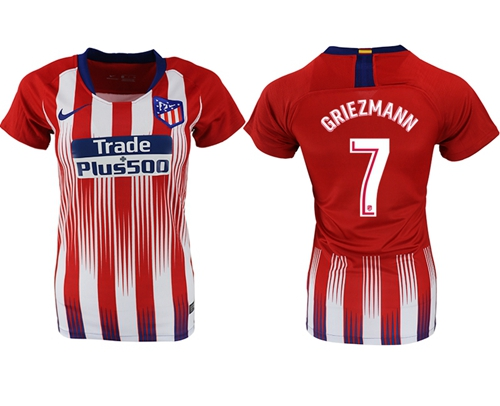Women's Atletico Madrid #7 Griezmann Home Soccer Club Jersey