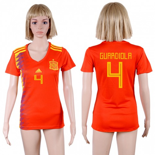 Women's Spain #4 Guardiola Red Home Soccer Country Jersey
