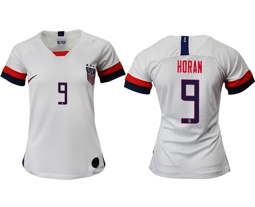 Women's USA #9 Horan Home Soccer Country Jersey