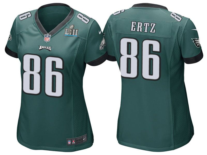 Women's Philadelphia Eagles #86 Zach Ertz Green Super Bowl LII Bound Patch Game Event Stitched NFL Jersey