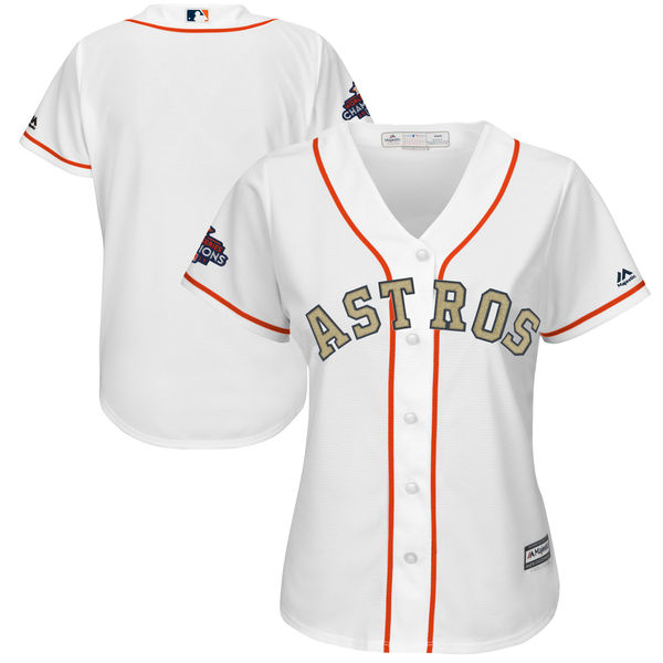 Women's Houston Astros Majestic White 2018 Gold Program Cool Base Team Stitched MLB Jersey