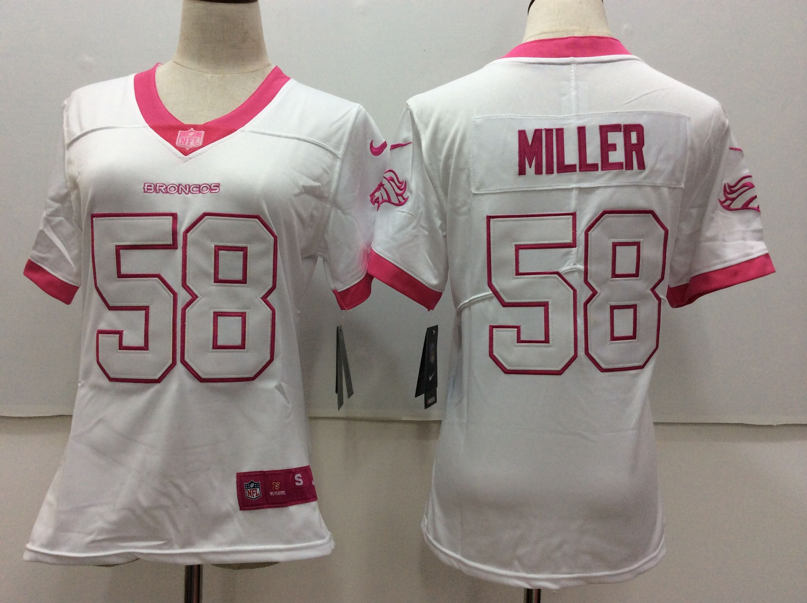 Women's Nike Denver Broncos #58 Von Miller White Stitched NFL Limited Rush Fashion Jersey
